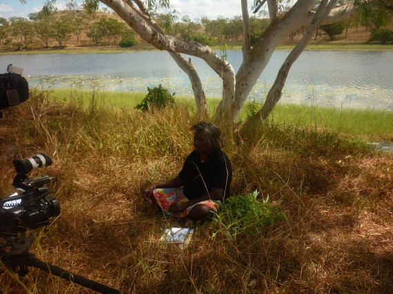 ARPNet director Cherry Daniels filming for ARPNet Dilly Bag in Ngukurr